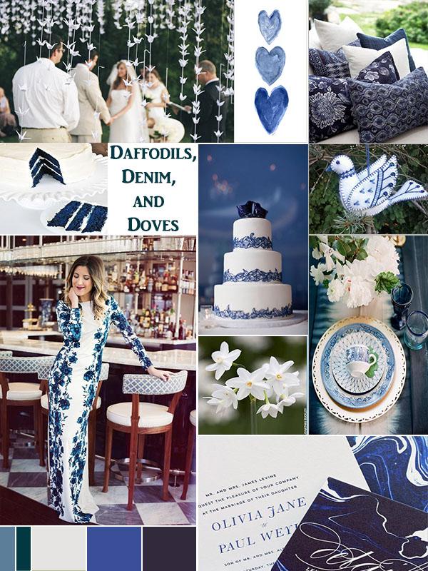 Wedding Mood board: Denim, Daffodils, and Doves