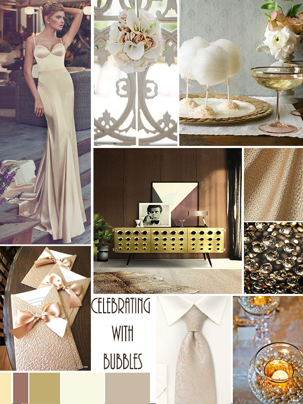 Wedding Mood Board Celebrating with Bubbles