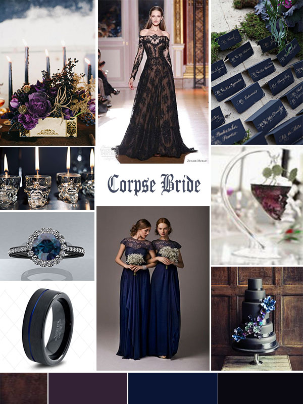 Wedding Mood Board: Halloween Corpse Bride Atlanta Event Planning