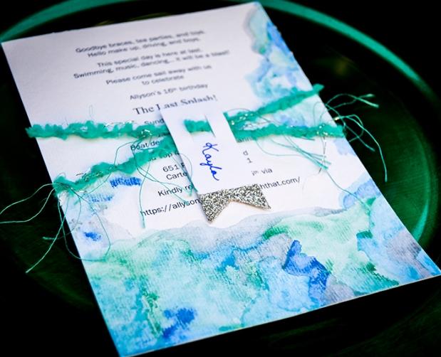 Hand painted watercolor metallic invitations