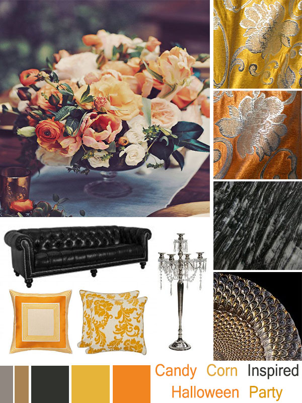 Halloween Mood Board: Candy Corn Inspired Halloween Party
