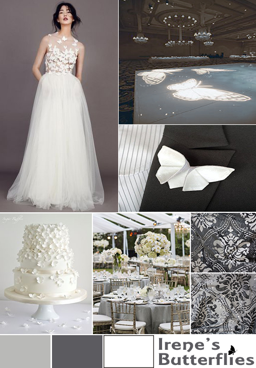 wedding mood board: white gray butterflies in Atlanta