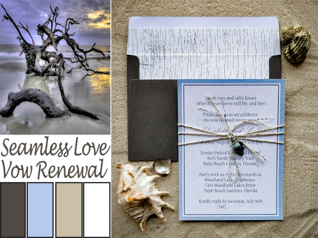 Seamless Loved Beach Vow Renewal Invitation