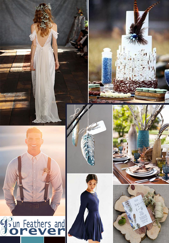 Wedding Mood Board: Fun, Feathers, and Forever by Atlanta event planner Injinnyous.com