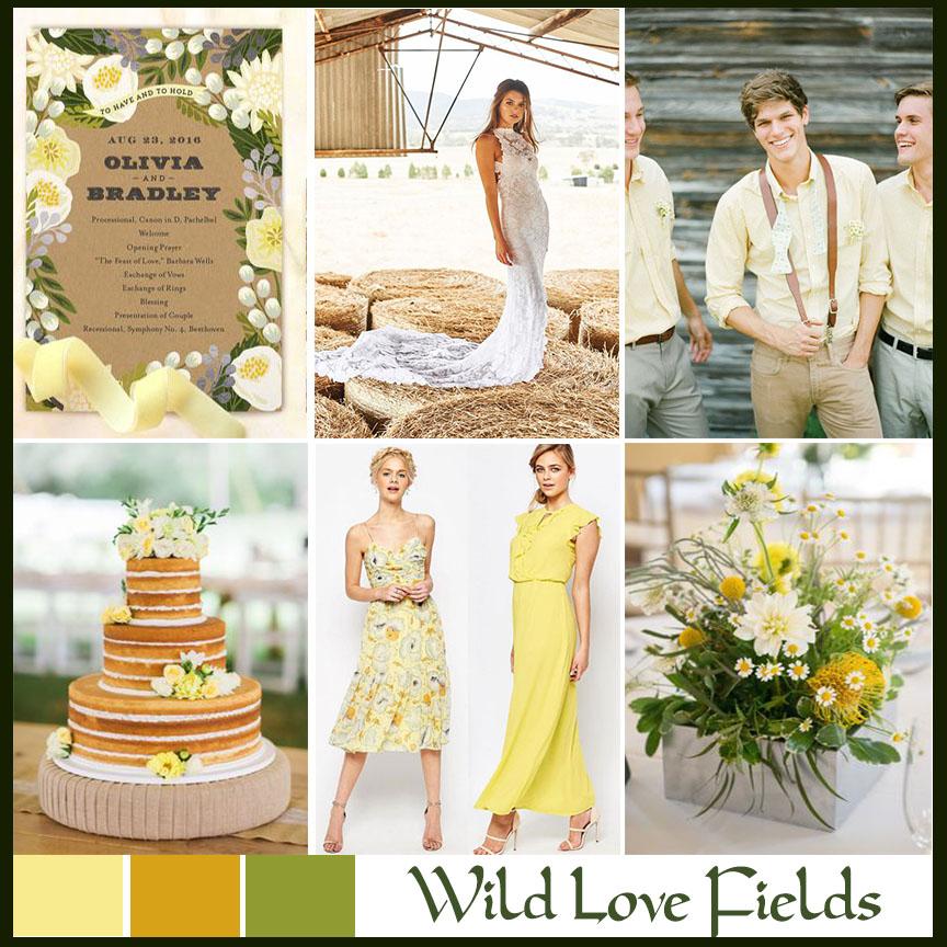 yellow rustic wedding mood board wild love fields atlanta event planner